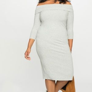 Light gray off the shoulder dress
